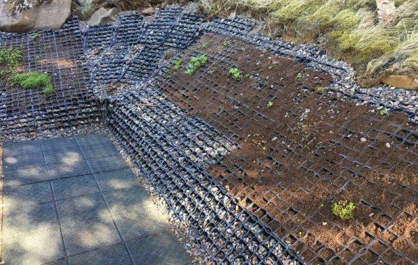укрепление склонов у дома при помощи газонной решетки