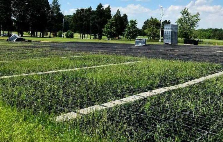 рост травы на экопарковке из газонной решетки
