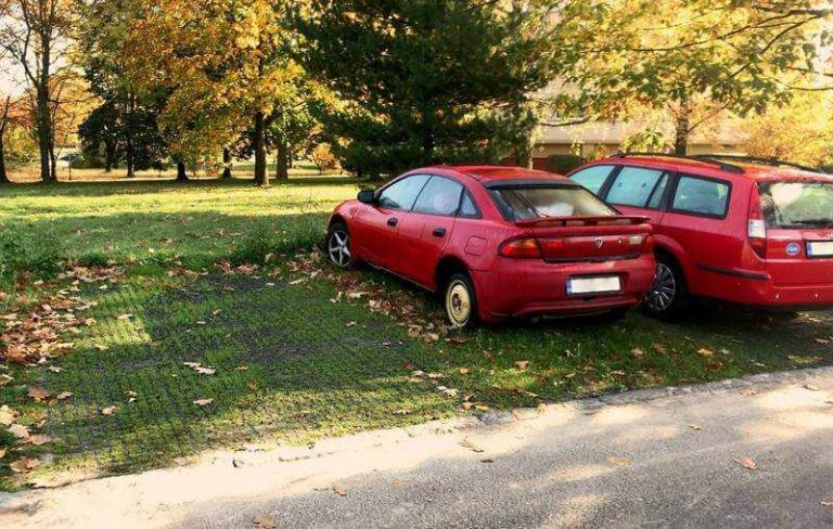 автомобиль стоит на экологической парковке