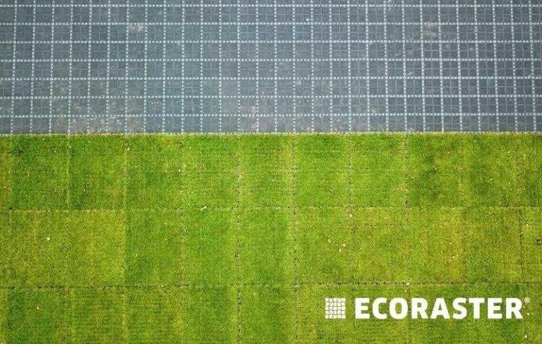комбинация брусчатки и газона в газонных решетках ECORASTER