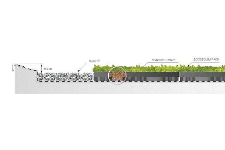 модули для озеленения горизонтальных крыш