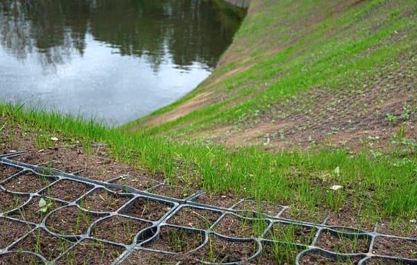 озерный склон усилен решеткой для газона