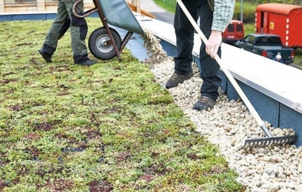Заполнение кромки по контуру озелененной крыши гравием