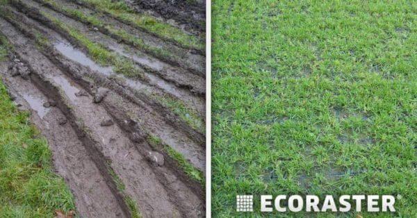 разница при укреплении газона газонной решеткой