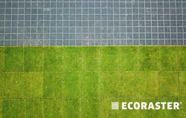 комбинация брусчатки и газона на экопарковке ECORASTER