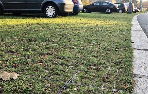 усиленная газонная решетка на экопарковке с газоном